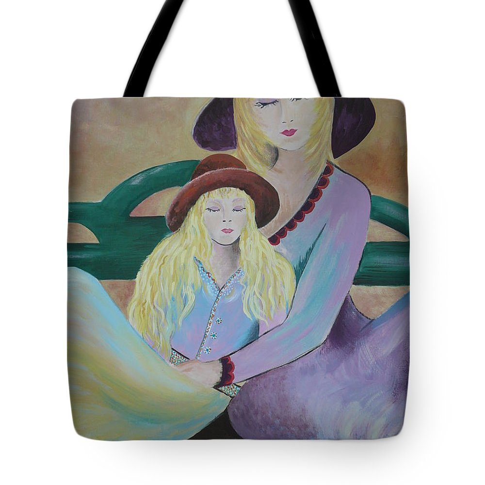 Mother/daughter Tote Bag featuring the painting Angel Face by Kris Crollard
