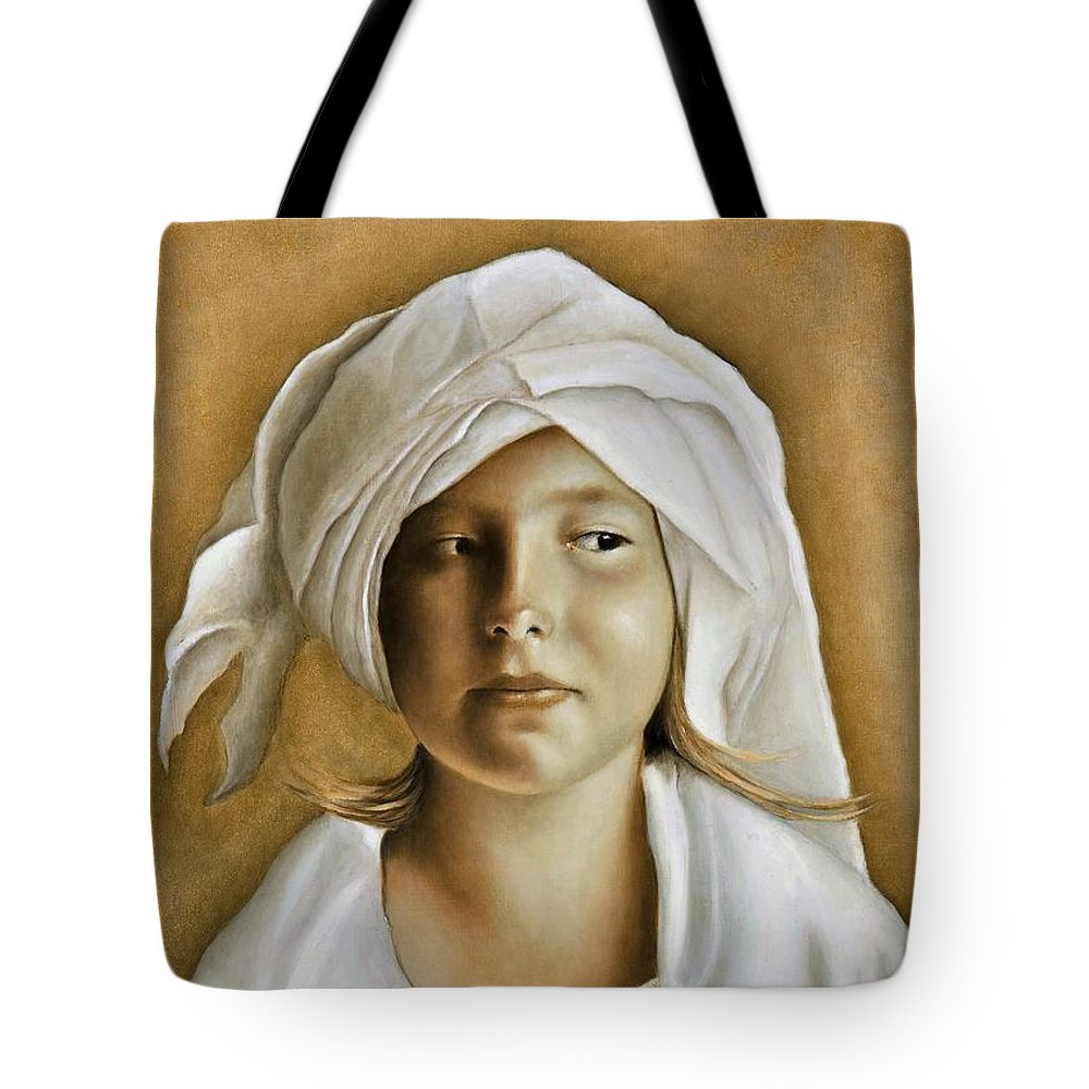Portrait Tote Bag featuring the painting Angelinn by Nanne Nyander
