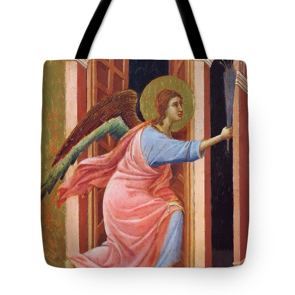 Annunciation Tote Bag featuring the painting Annunciation Fragment 1311 by Duccio