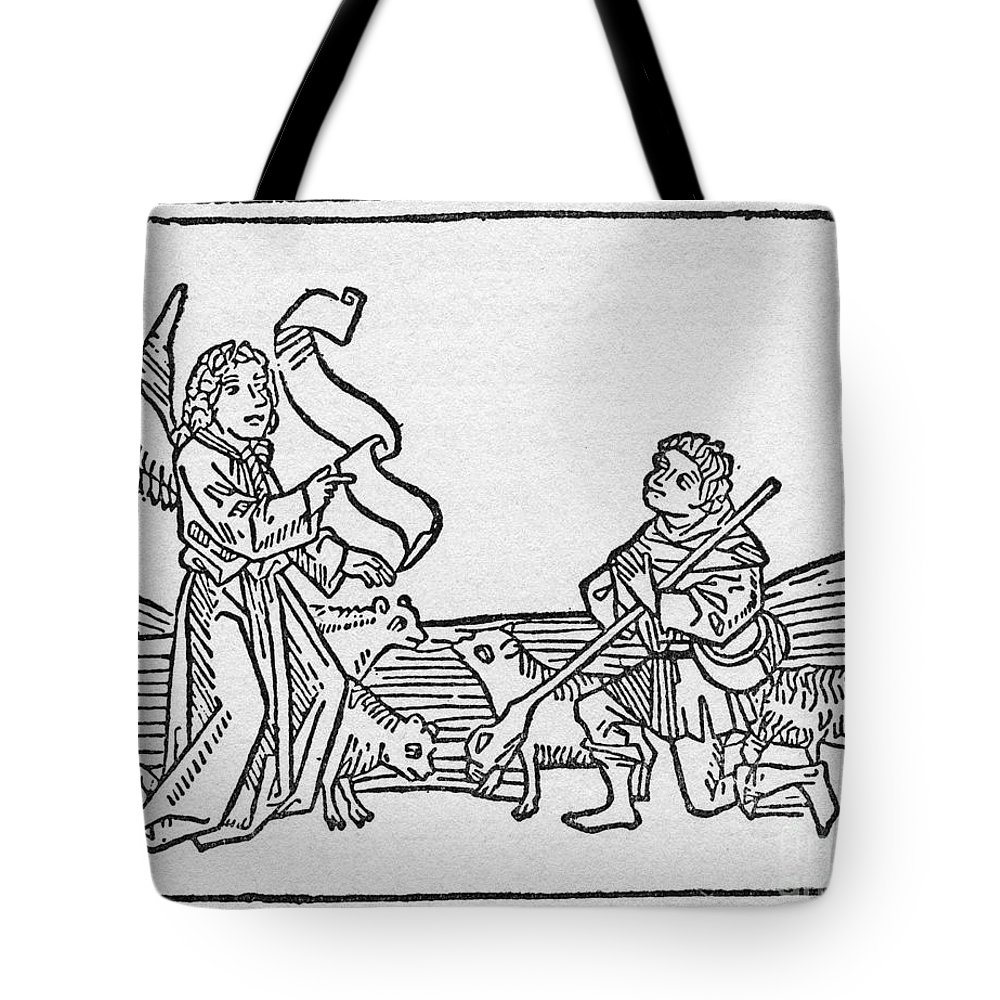 15th Century Tote Bag featuring the drawing Annunciation To Shepherds by Granger