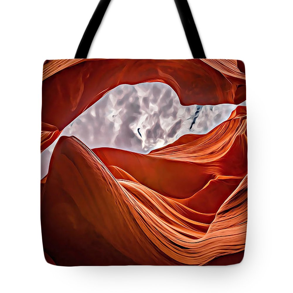 Antelope Canyon Tote Bag featuring the digital art Antelope Canyon by Lora Battle