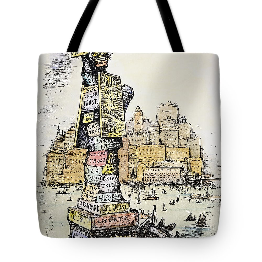1889 Tote Bag featuring the photograph Anti-trust Cartoon, 1889 by Granger