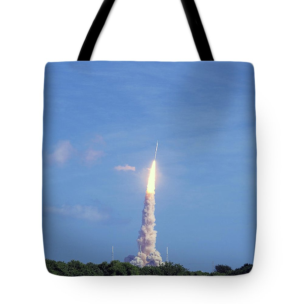 Rocket Tote Bag featuring the photograph Ares1x Test Rocket Launch by Allan Hughes