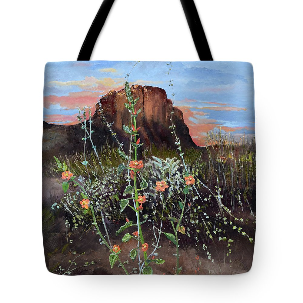 Landscape Tote Bag featuring the painting Arizona Desert Flowers-dwarf Indian Mallow by Jan Dappen