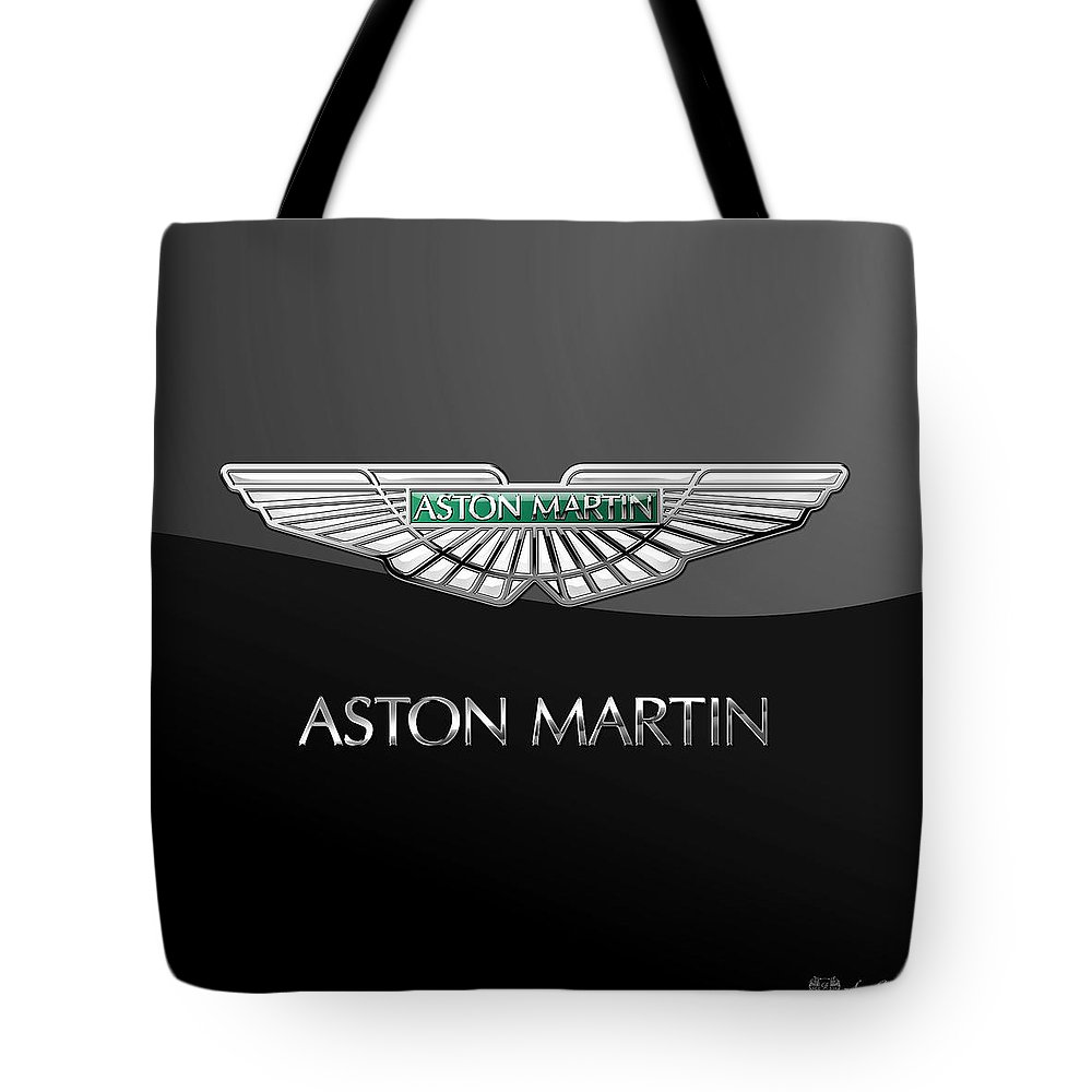 'wheels Of Fortune� Collection By Serge Averbukh Tote Bag featuring the photograph Aston Martin 3 D Badge on Black by Serge Averbukh