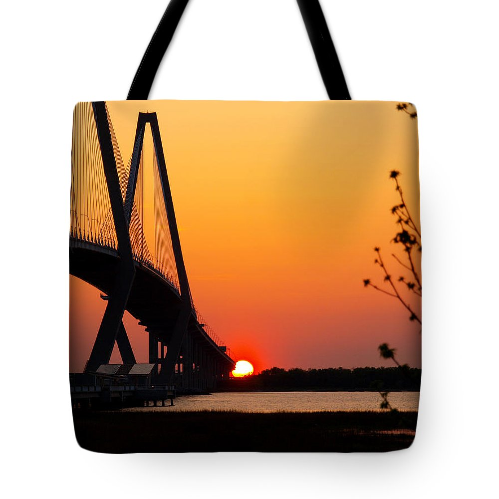Ann Keisling Tote Bag featuring the photograph At The End Of The Bridge by Ann Keisling