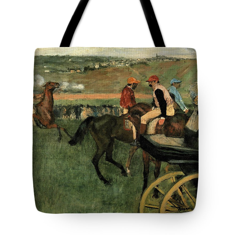 Edgar Degas Tote Bag featuring the painting At The Races by Edgar Degas