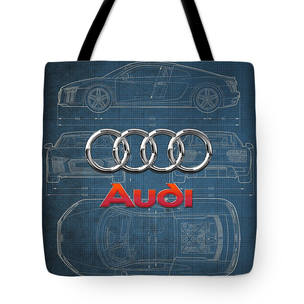 �wheels Of Fortune� Collection By Serge Averbukh Tote Bag featuring the photograph Audi 3 D Badge Over 2016 Audi R 8 Blueprint by Serge Averbukh