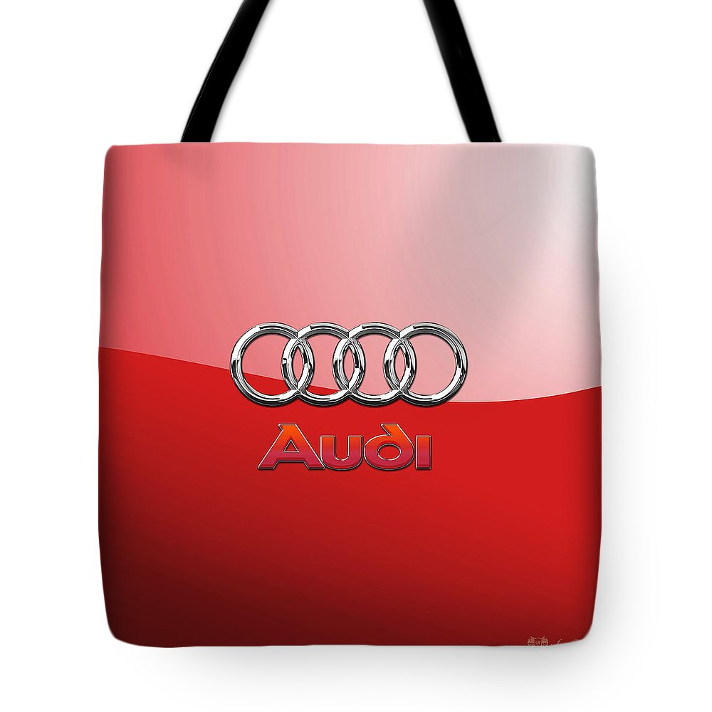 Wheels Of Fortune By Serge Averbukh Tote Bag featuring the photograph Audi - 3D Badge on Red by Serge Averbukh