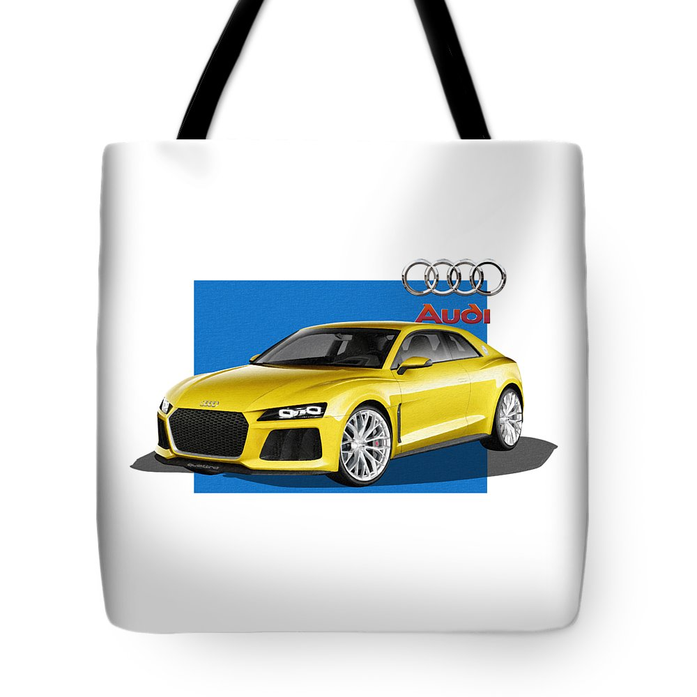 �audi� Collection By Serge Averbukh Tote Bag featuring the photograph Audi Sport Quattro Concept With 3 D Badge by Serge Averbukh