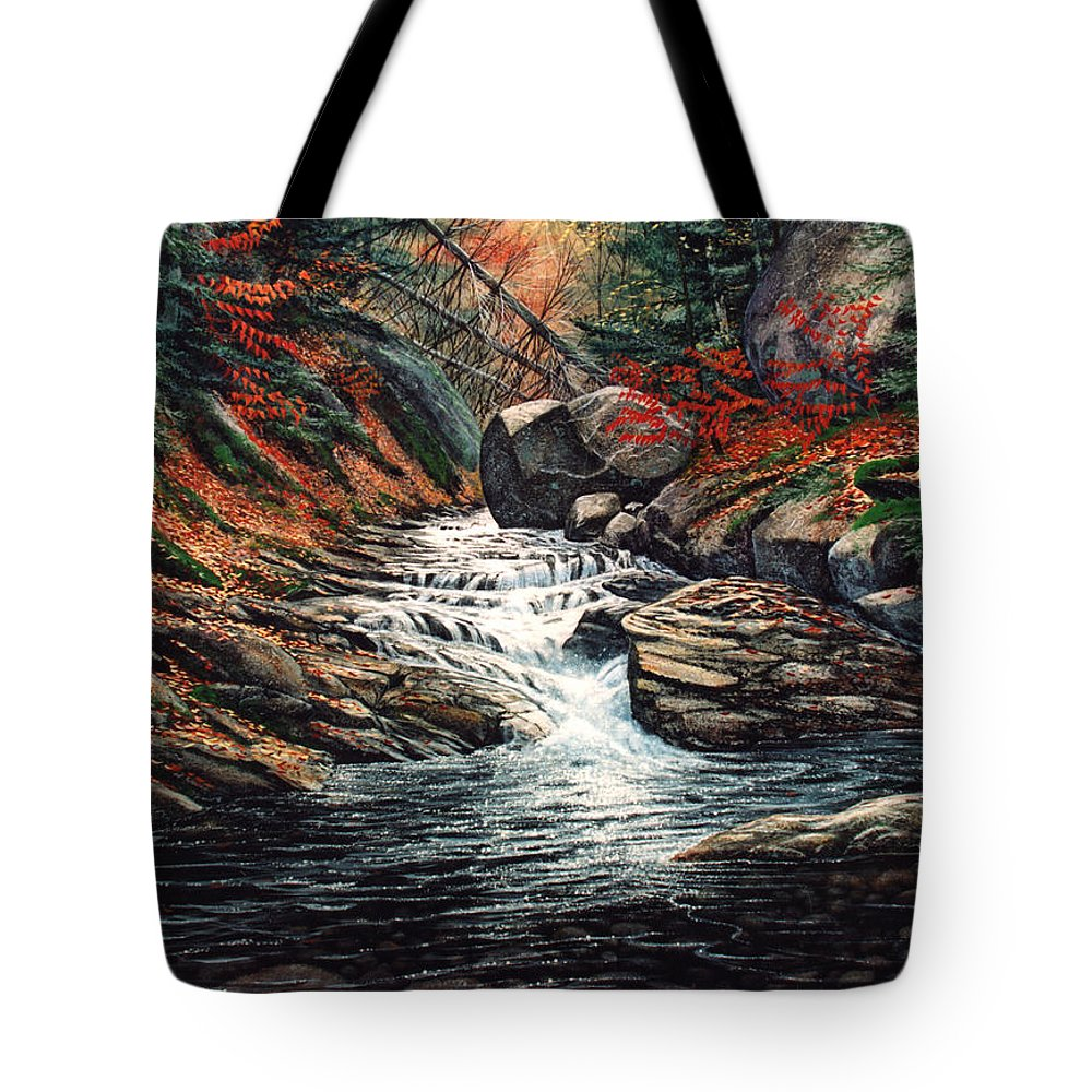 Landscape Tote Bag featuring the painting Autumn Brook by Frank Wilson