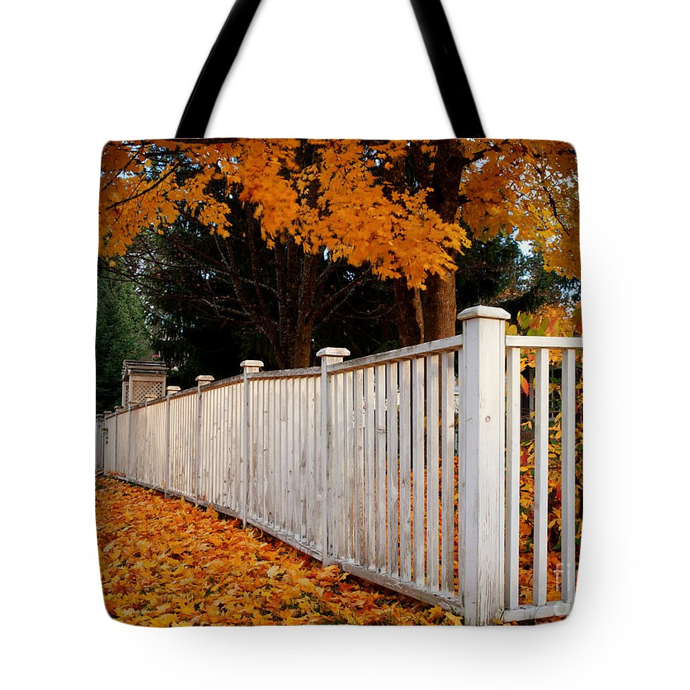 Coeur D'alene Tote Bag featuring the photograph Autumn Fence by Idaho Scenic Images Linda Lantzy