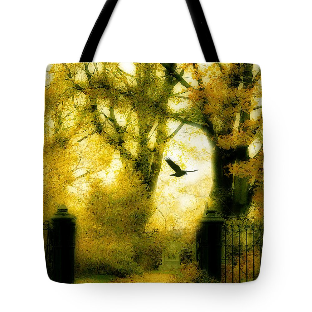 Yellow Tote Bag featuring the photograph Autumn Graveyard by Gothicrow Images