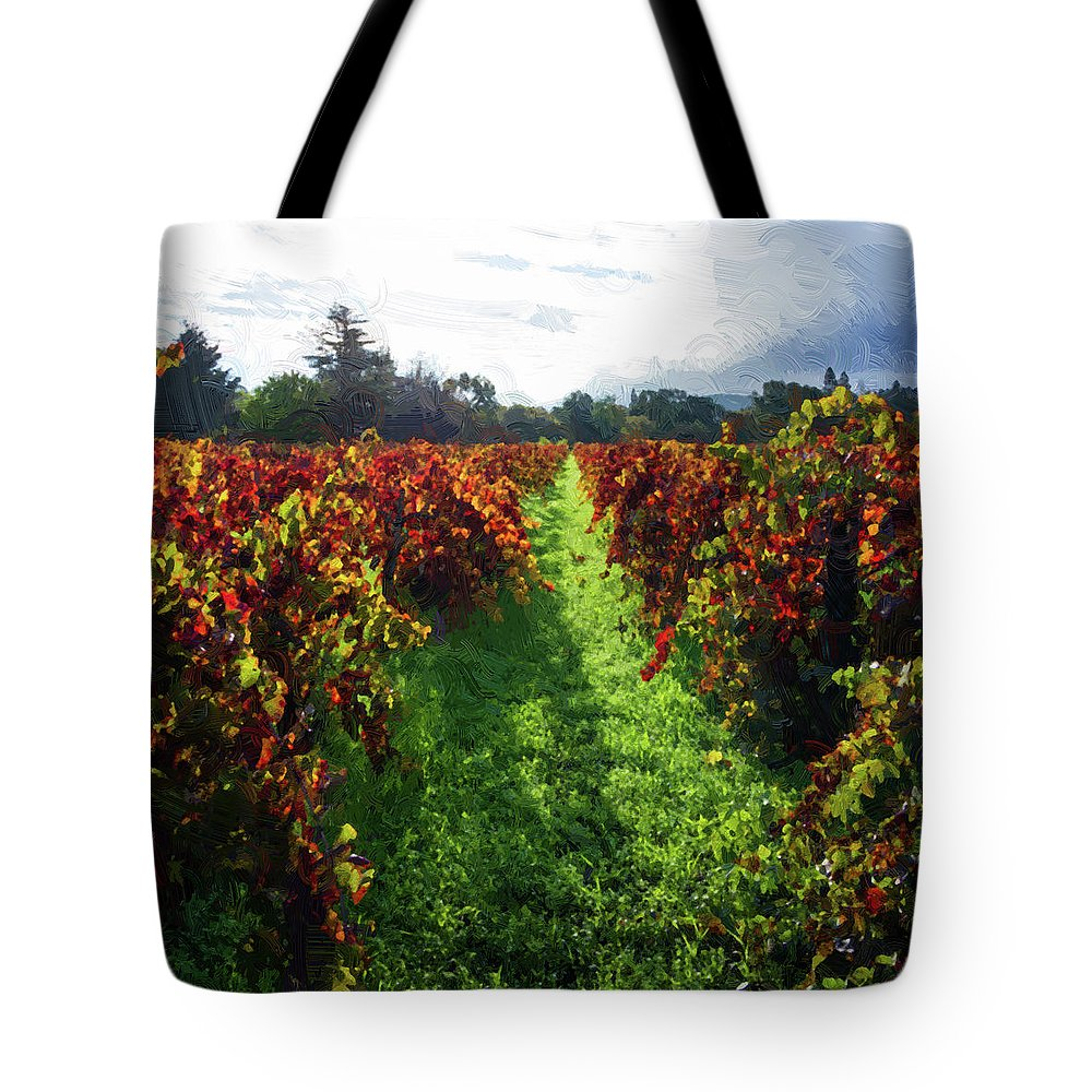 America Tote Bag featuring the photograph Autumn Vineyard In The Morning by Charles Wollertz