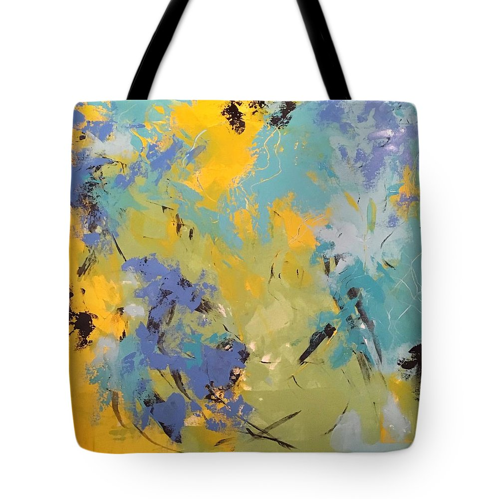 Awaken The Soul Is An Original 36 X 36 Acrylic Abstract Painted On A Gallery Canvas. The Edges Are Painted To Coordinate With The Outer Edges Of The Painting Tote Bag featuring the painting Awaken The Soul by Suzzanna Frank