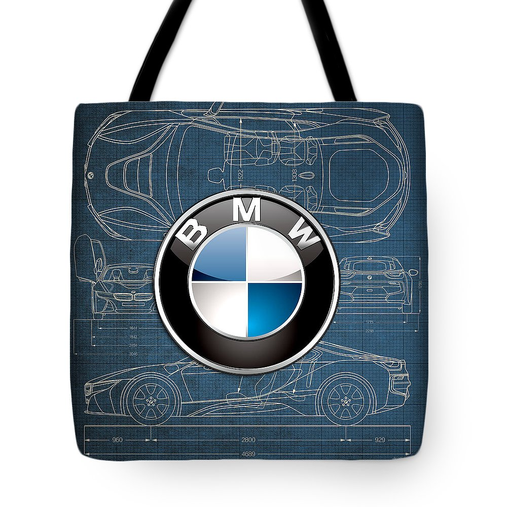 �wheels Of Fortune� By Serge Averbukh Tote Bag featuring the photograph B M W 3 D Badge Over B M W I8 Blueprint by Serge Averbukh