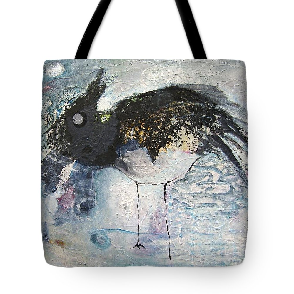 Robin Painting Tote Bag featuring the painting Baby Robin by Seon-Jeong Kim