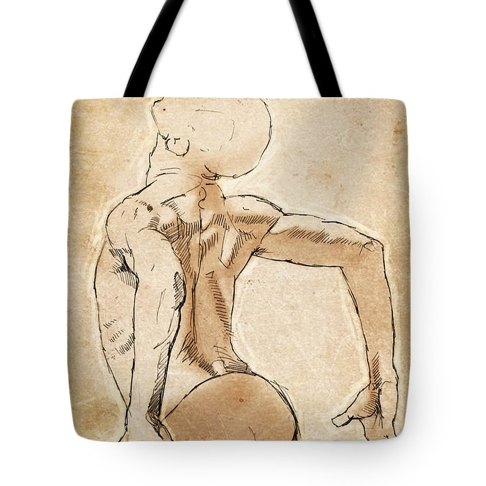 Dancer Tote Bag featuring the drawing Back Study by H James Hoff