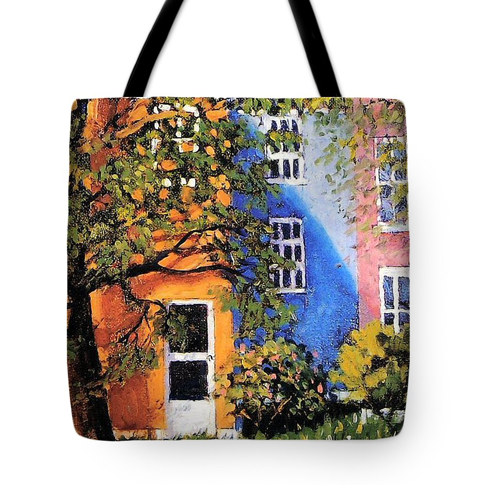 Scenic Tote Bag featuring the painting Backyard by Jonathan Carter