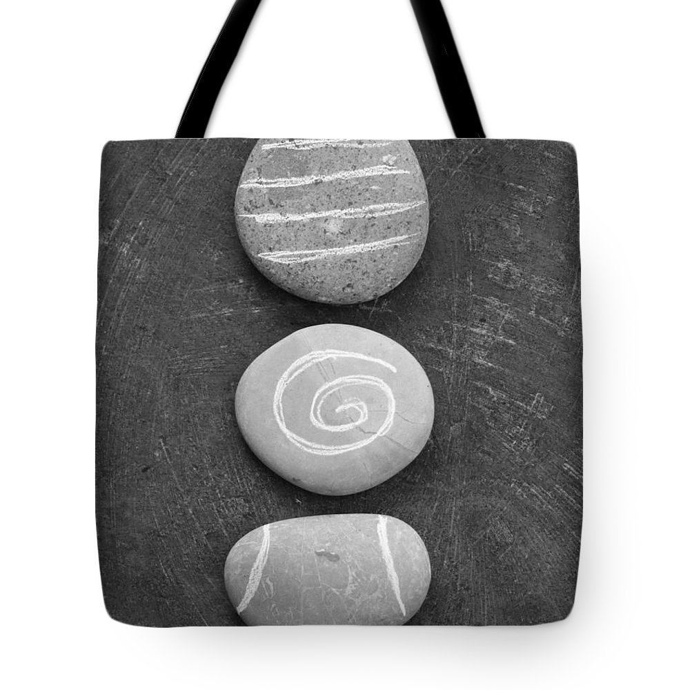 Stones Tote Bag featuring the mixed media Balance by Linda Woods