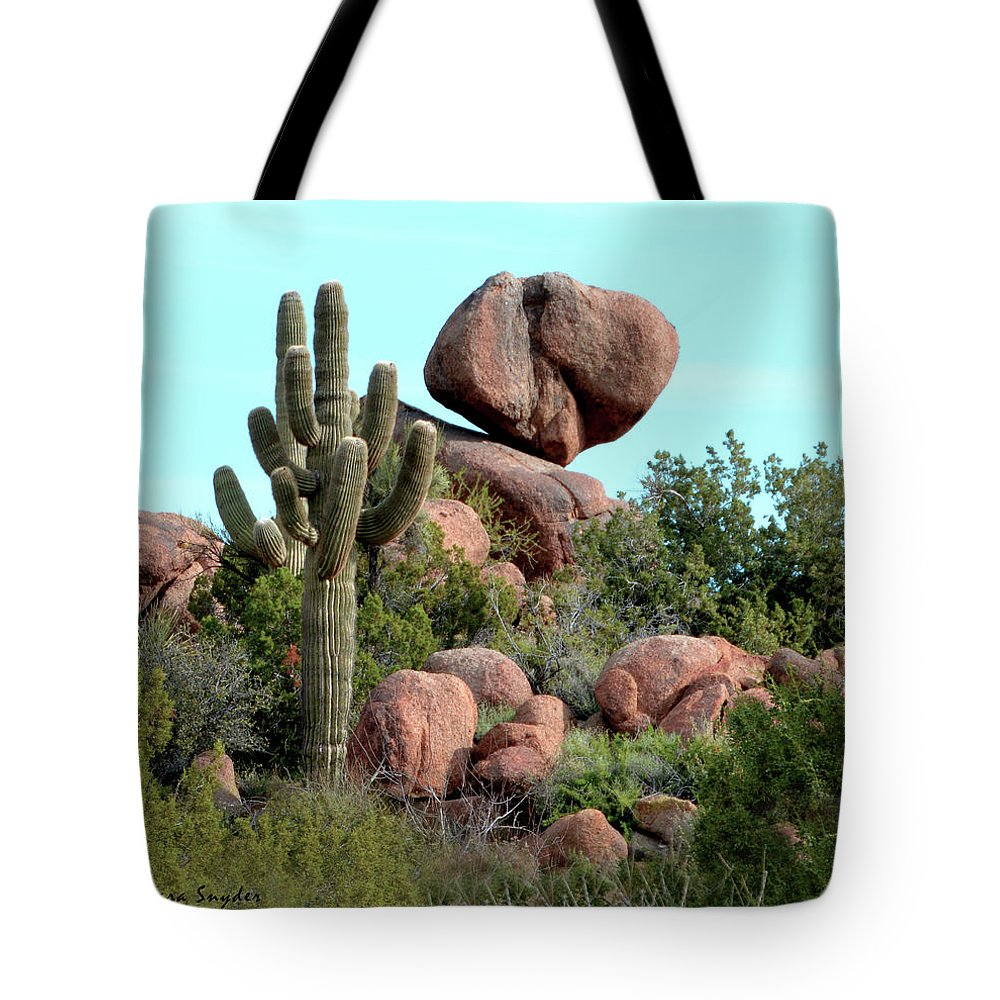 Balancing Act In The Arizona Desert Tote Bag featuring the photograph Balancing Act In The Arizona Desert 2 by Barbara Snyder