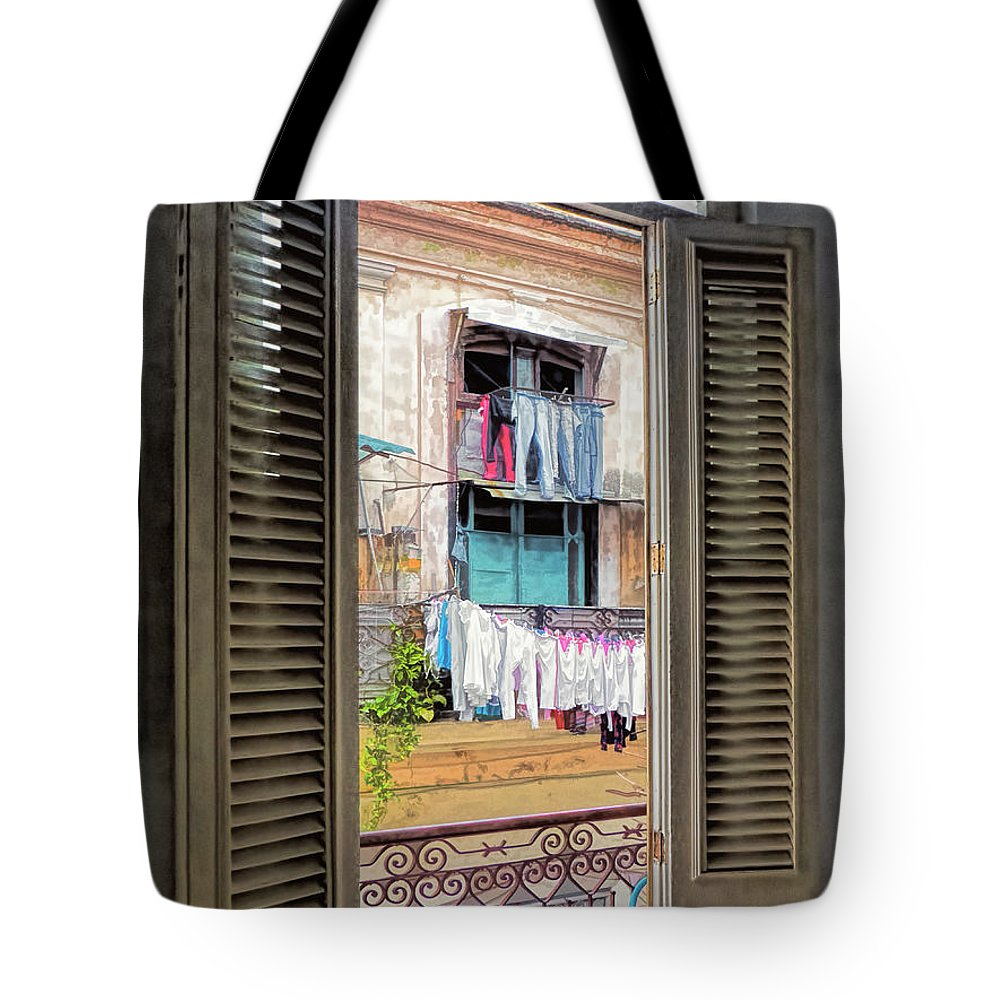 Cuba Tote Bag featuring the photograph Balcony View by Claude LeTien