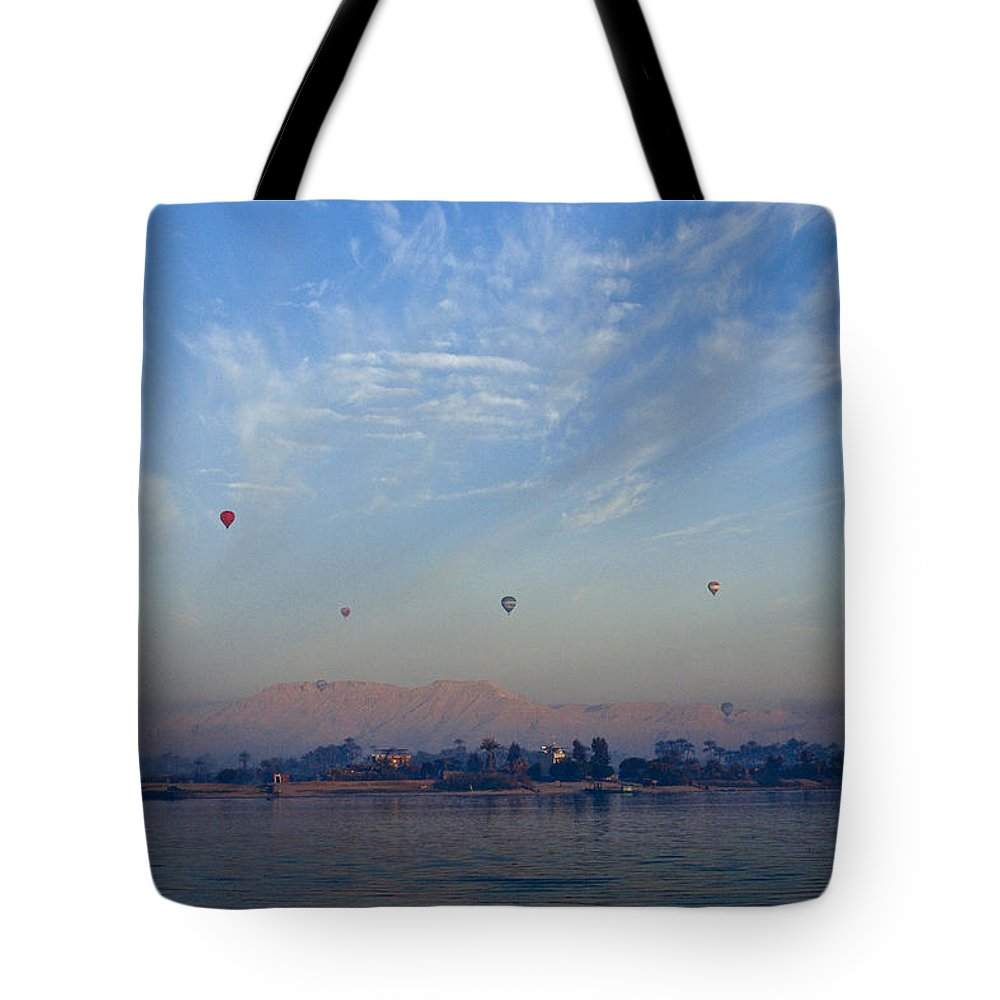 Egypt Tote Bag featuring the photograph Ballooning Over The Nile by Michele Burgess