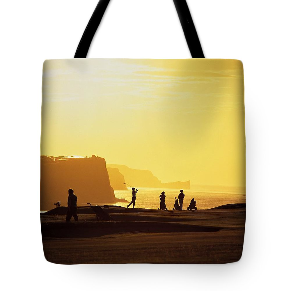 Antrim Coast Tote Bag featuring the photograph Ballycastle Golf Club, Co Antrim by The Irish Image Collection