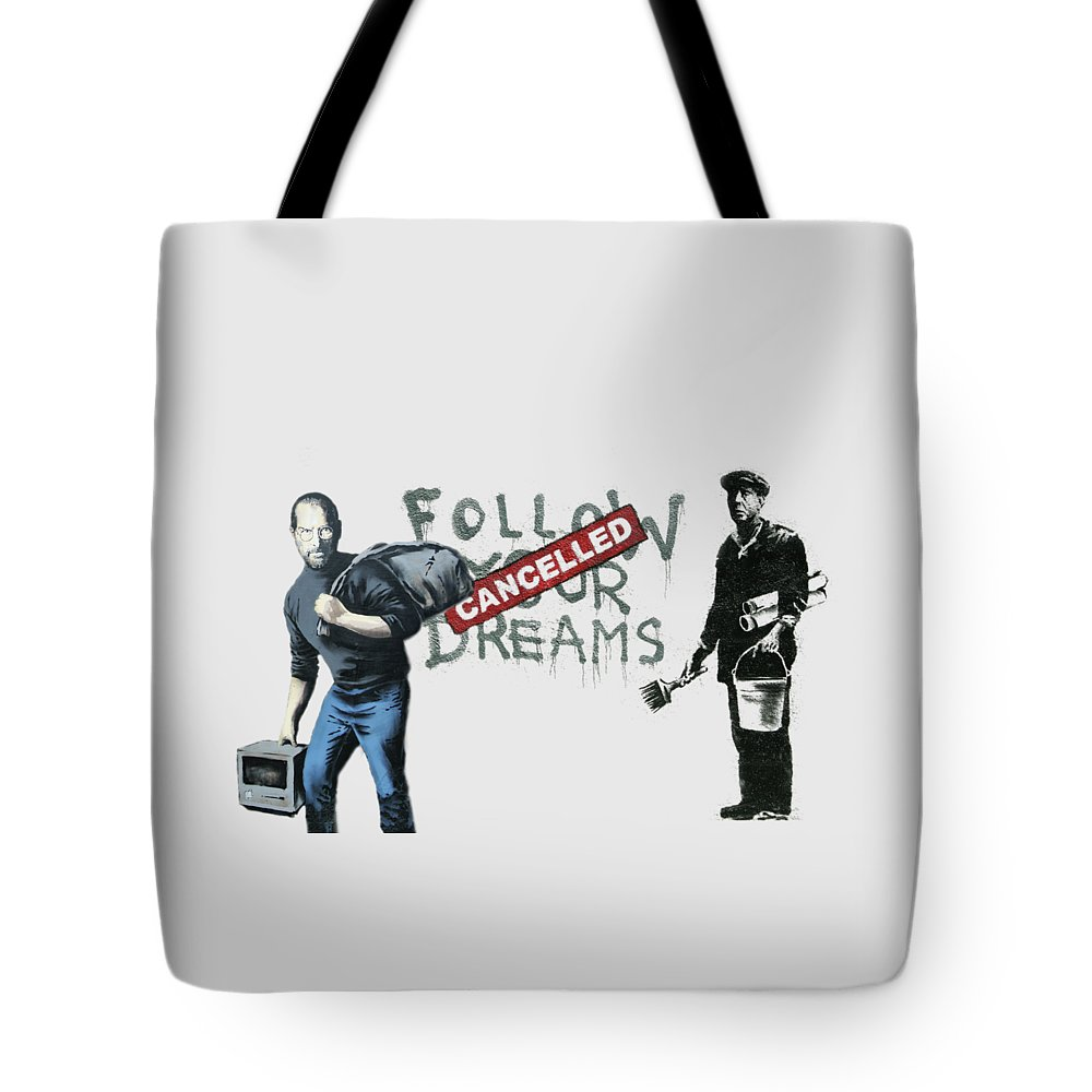 'urban Graffiti' Collection By Serge Averbukh Tote Bag featuring the photograph Banksy - The Tribute - Follow Your Dreams - Steve Jobs by Serge Averbukh