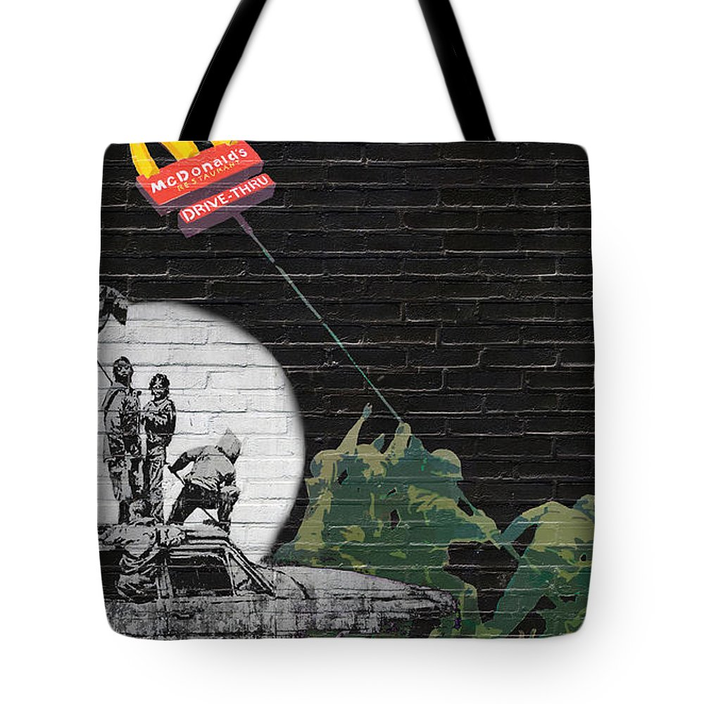 �urban Graffiti� Collection By Serge Averbukh Tote Bag featuring the photograph Banksy - The Tribute - New World Order by Serge Averbukh