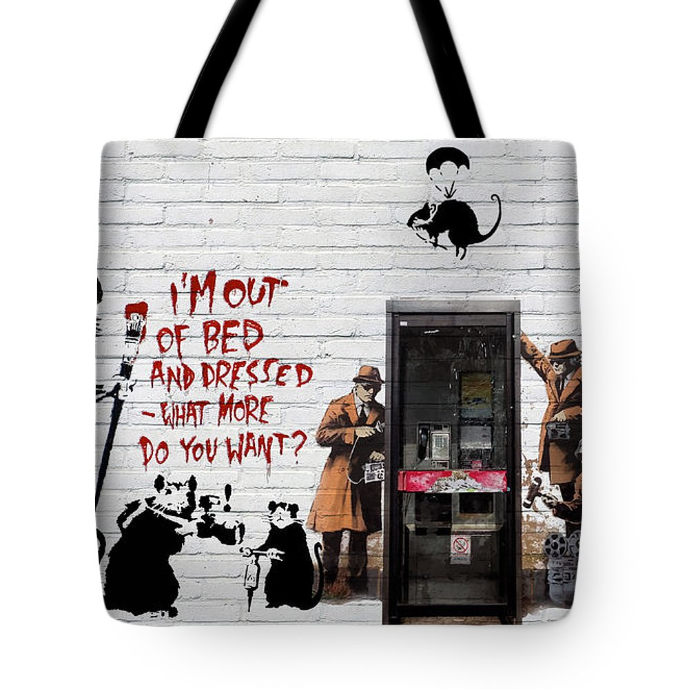 �urban Graffiti� Collection By Serge Averbukh Tote Bag featuring the photograph Banksy - The Tribute - Rats by Serge Averbukh
