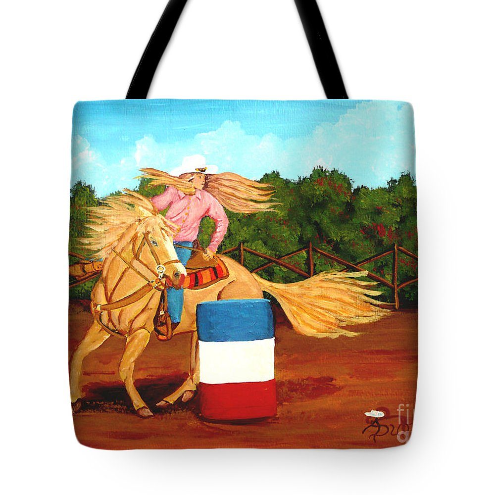 Rodeo Tote Bag featuring the painting Barrel Racer by Anthony Dunphy