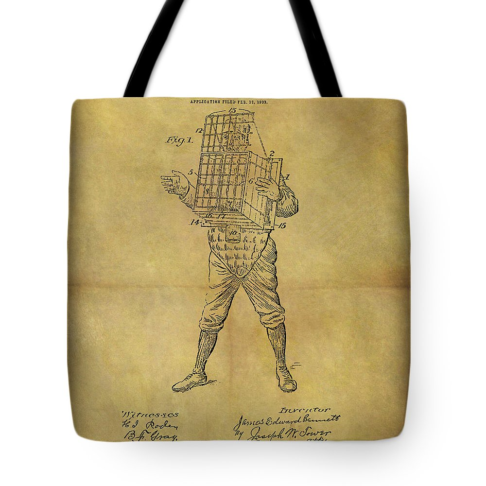 Baseball Catcher's Mask Patent Tote Bag featuring the drawing Baseball Catcher's Mask Patent by Dan Sproul