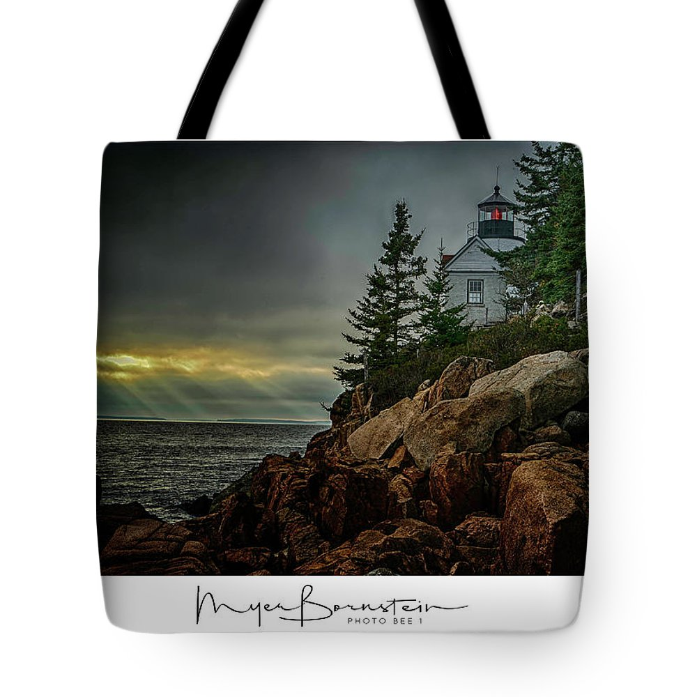 04-landscape Tote Bag featuring the photograph Bass Harbor Light by Myer Bornstein