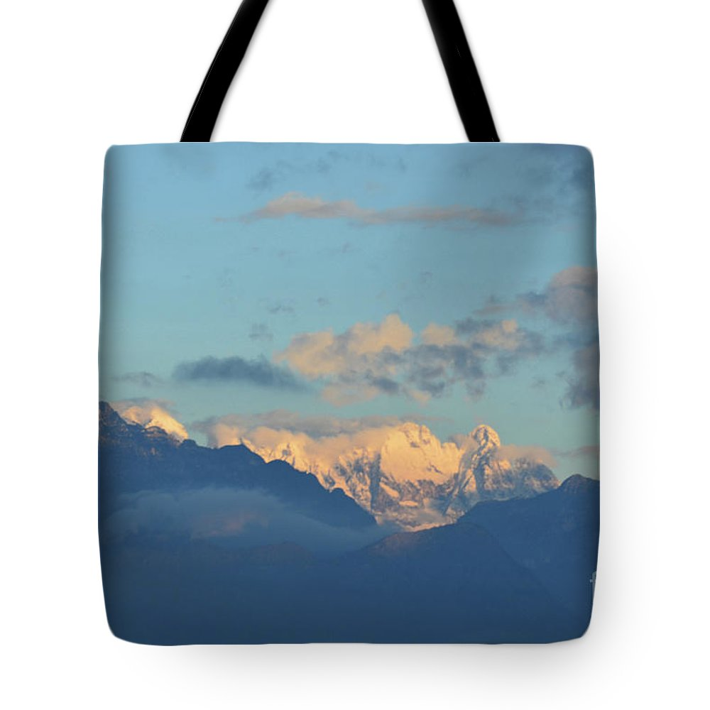 Mountains Tote Bag featuring the photograph Beautiful Countryside Of The Italian Mountains With A Cloudy Sky by DejaVu Designs