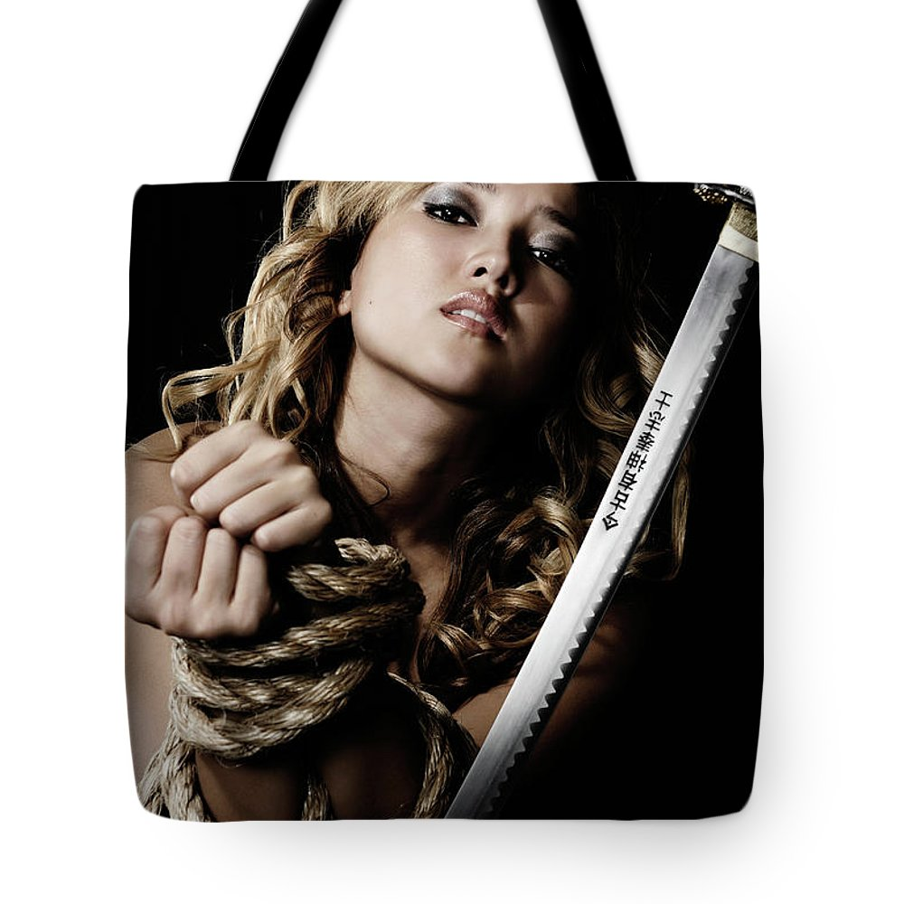 Punishment Tote Bag featuring the photograph Beautiful Woman Begging For Mercy by Oleksiy Maksymenko