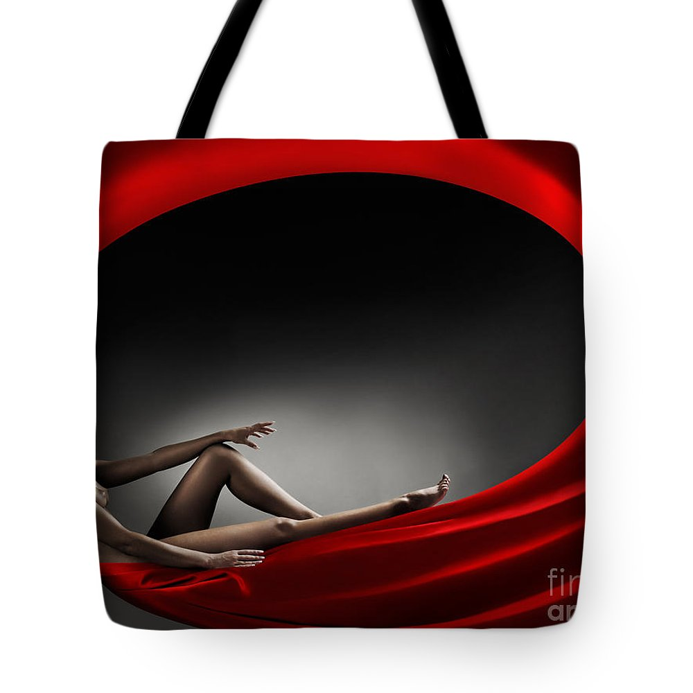 Woman Tote Bag featuring the photograph Beautiful Woman In A Whirl Of Power by Maxim Images Prints