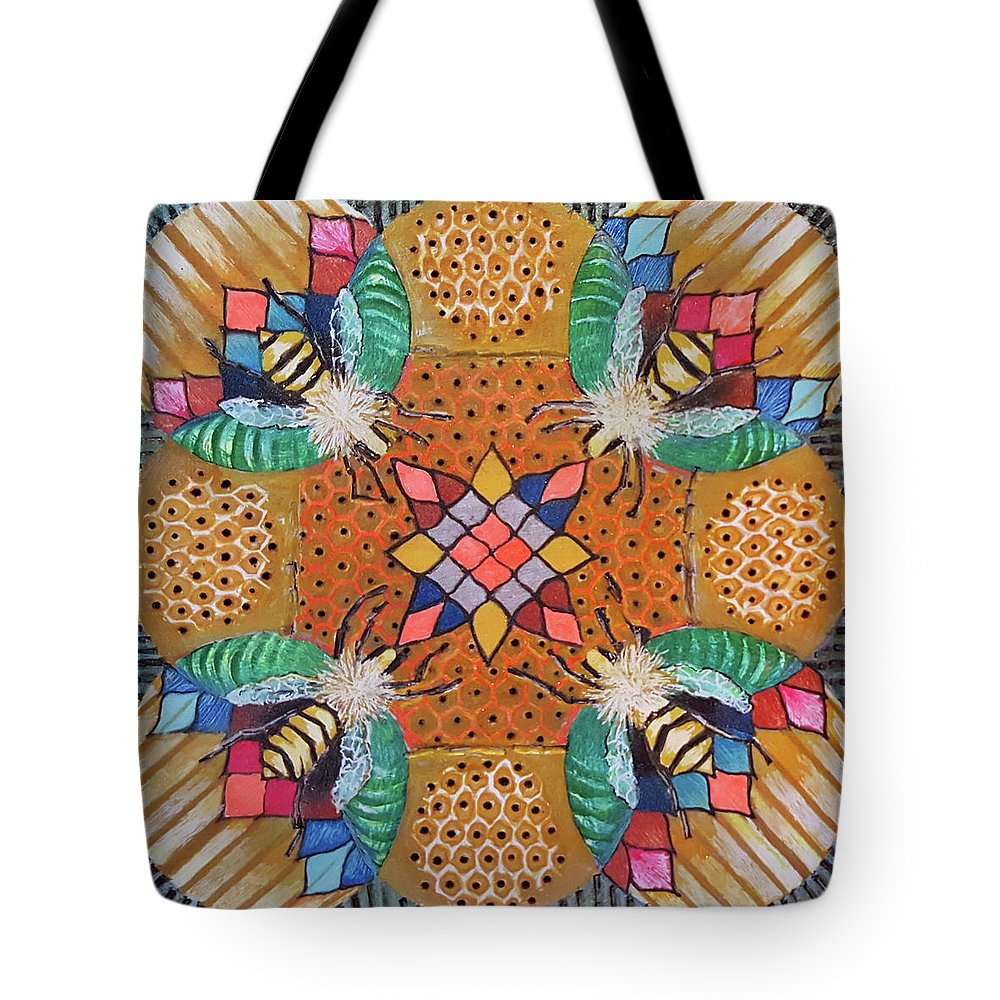 Honey Bee Tote Bag featuring the drawing Bee Kind by Ethel Mann