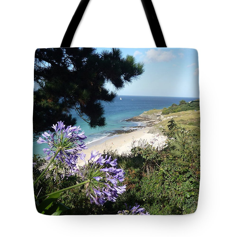 Coast Brittany Flowers Sea Ocean Bay Pines France Tote Bag featuring the photograph Bel-ile-en-mer by Lizzy Forrester