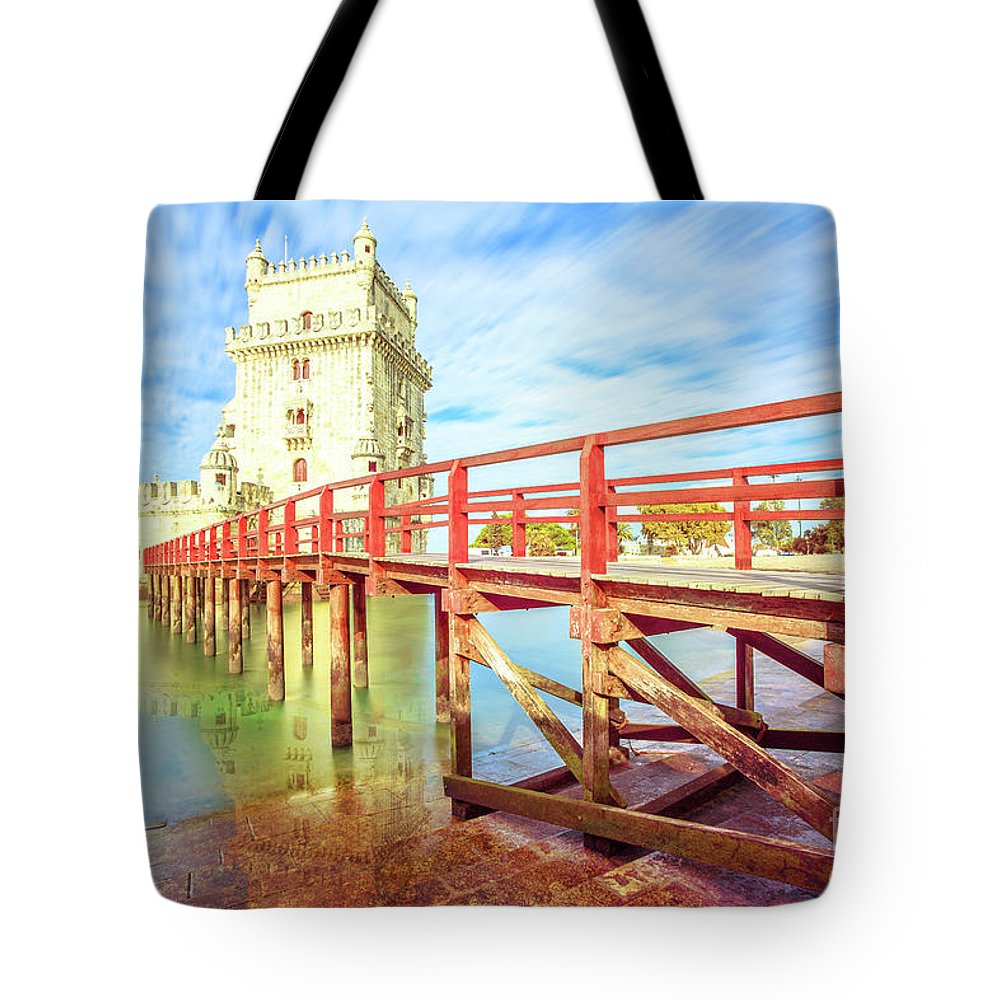 Lisbon Tote Bag featuring the photograph Belem Tower Lisbon by Benny Marty