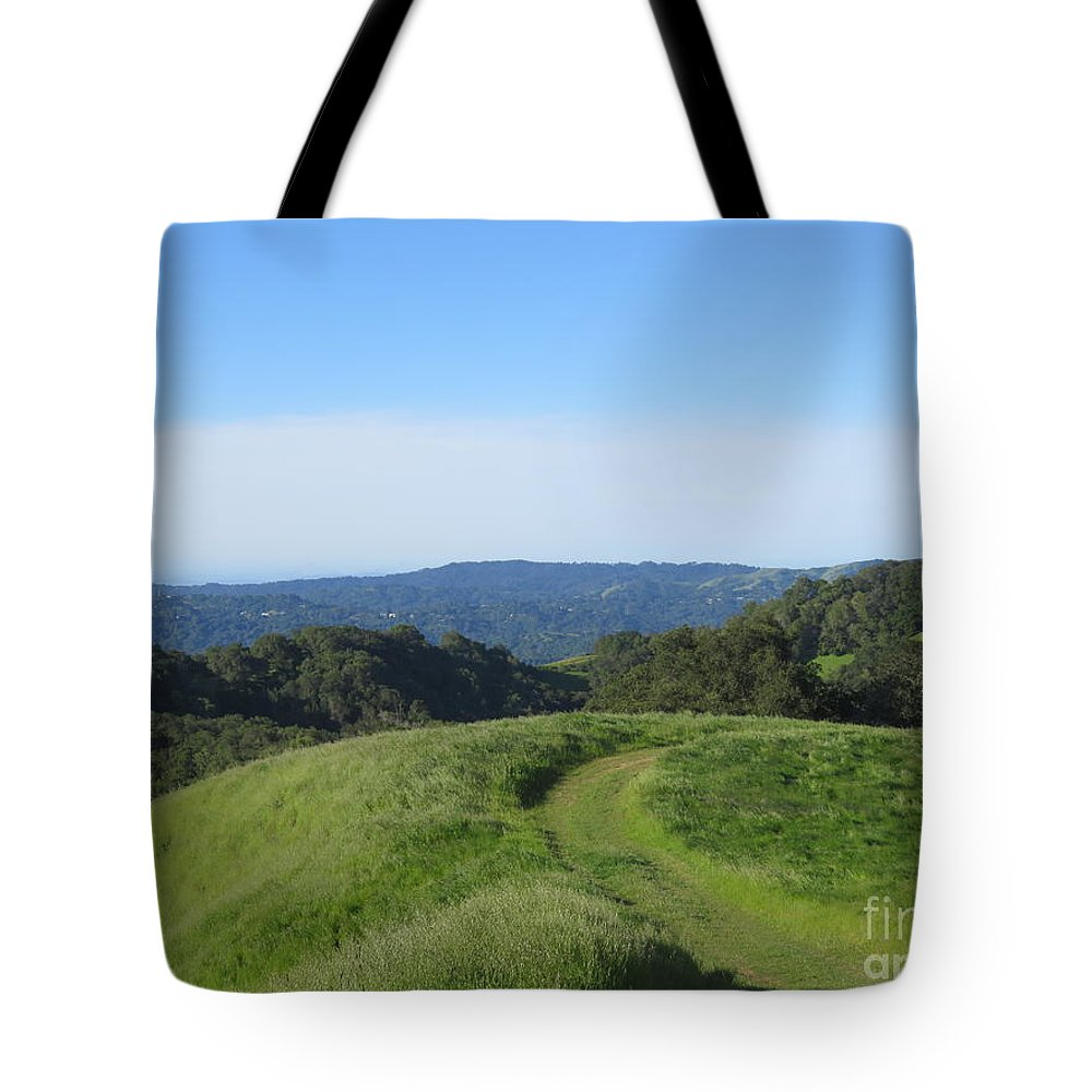Landscape Tote Bag featuring the photograph Bend In The Trail by Suzanne Leonard
