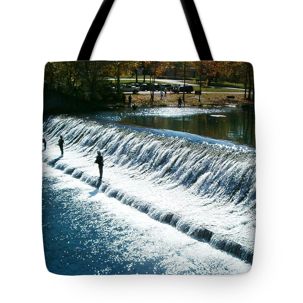 Bennett Springs Tote Bag featuring the photograph Bennett Springs Spillway by Sara Raber
