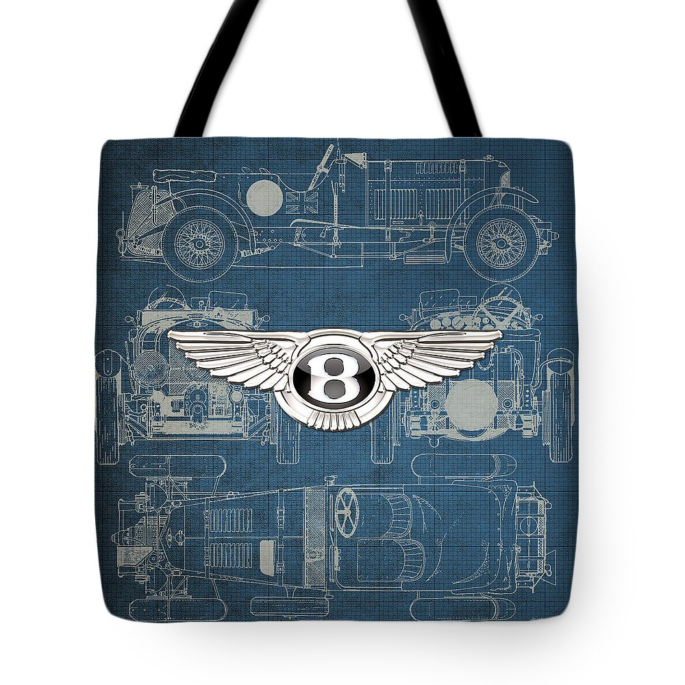 �wheels Of Fortune� By Serge Averbukh Tote Bag featuring the photograph Bentley - 3 D Badge over 1930 Bentley 4.5 Liter Blower Vintage Blueprint by Serge Averbukh