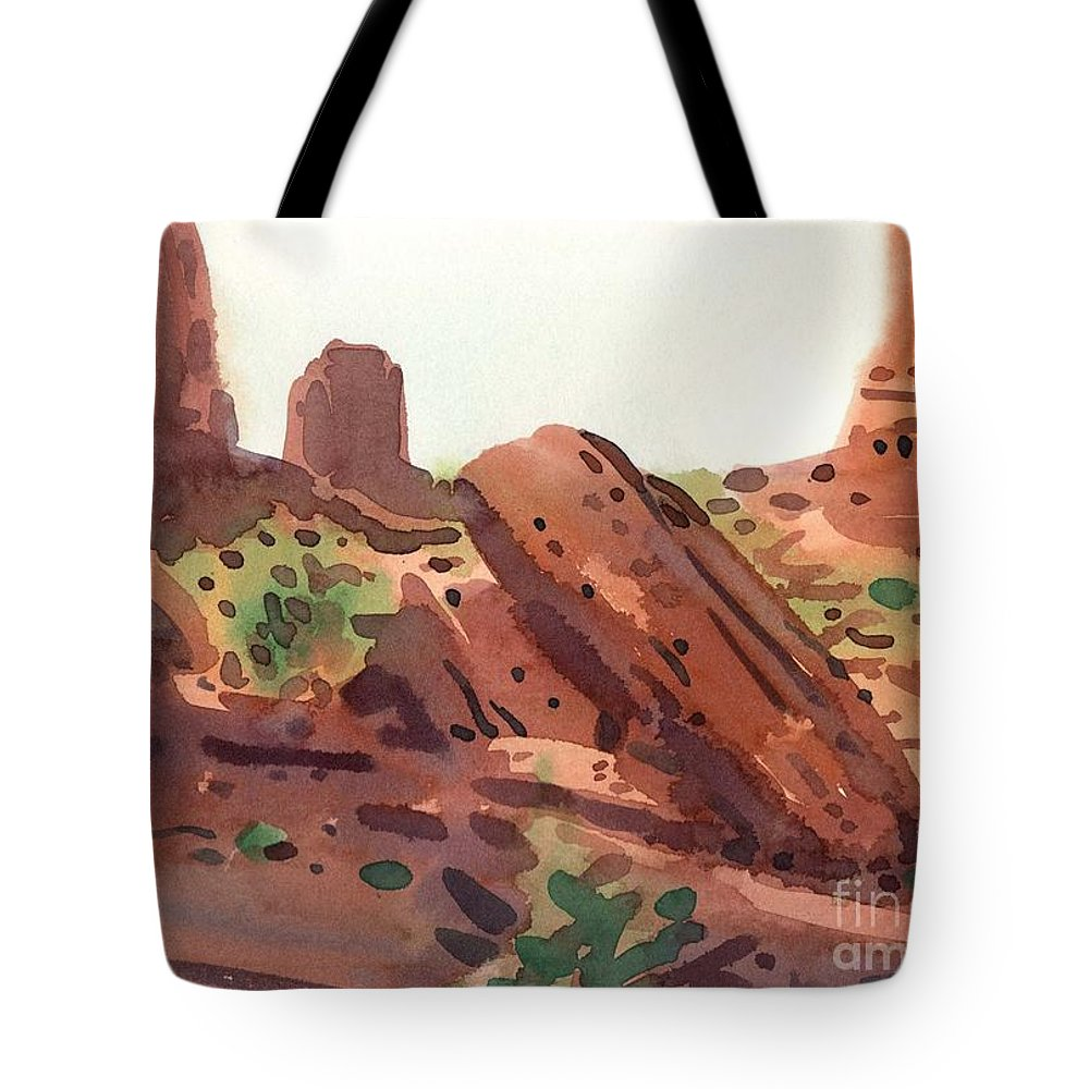Monument Valley Tote Bag featuring the painting Between The Buttes by Donald Maier