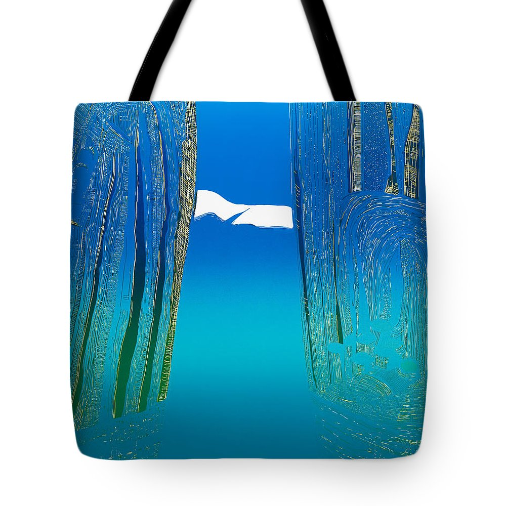 Landscape Tote Bag featuring the mixed media Between Two Mountains. by Jarle Rosseland