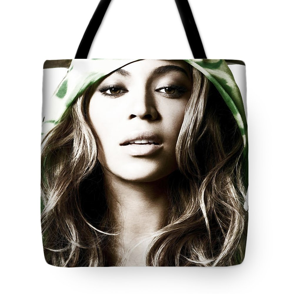 Beyonce Tote Bag featuring the mixed media Beyonce Irreplaceable by Brian Reaves