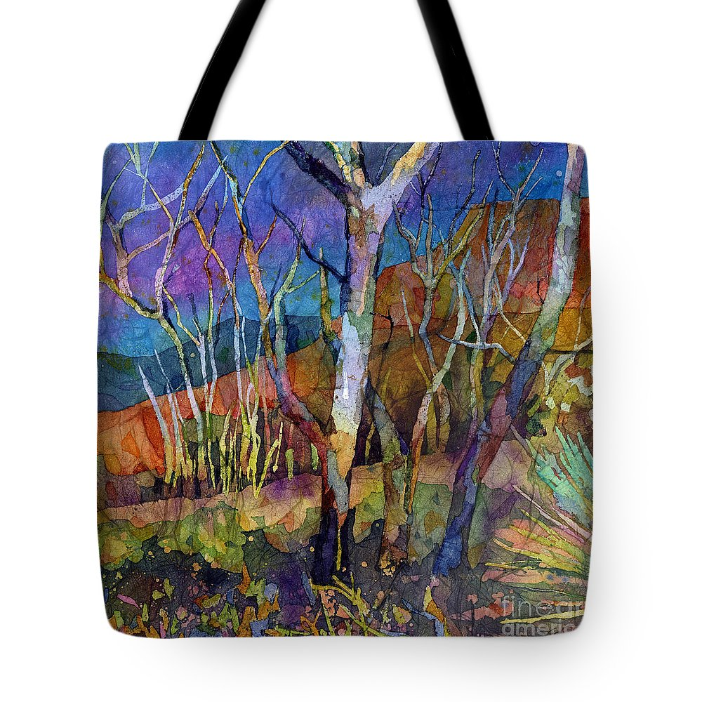 Trees Tote Bag featuring the painting Beyond the Woods by Hailey E Herrera