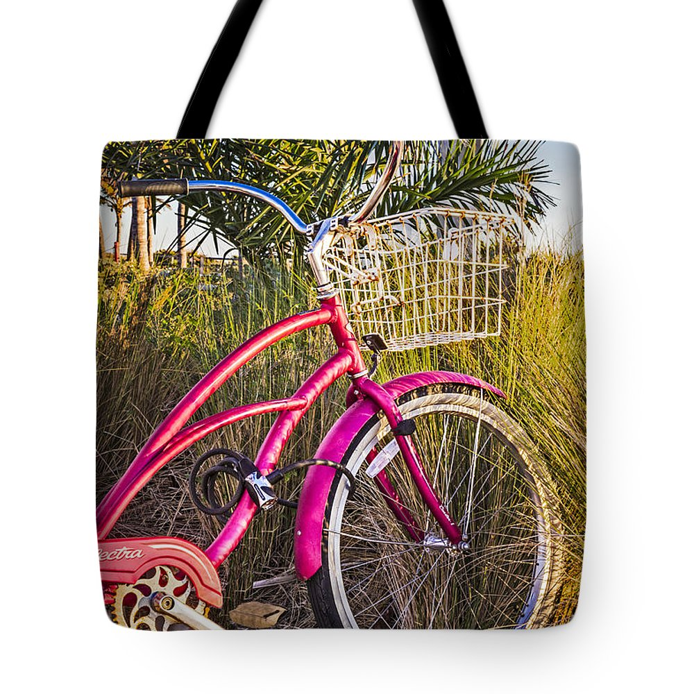 Clouds Tote Bag featuring the photograph Bicycle At The Beach II by Debra and Dave Vanderlaan