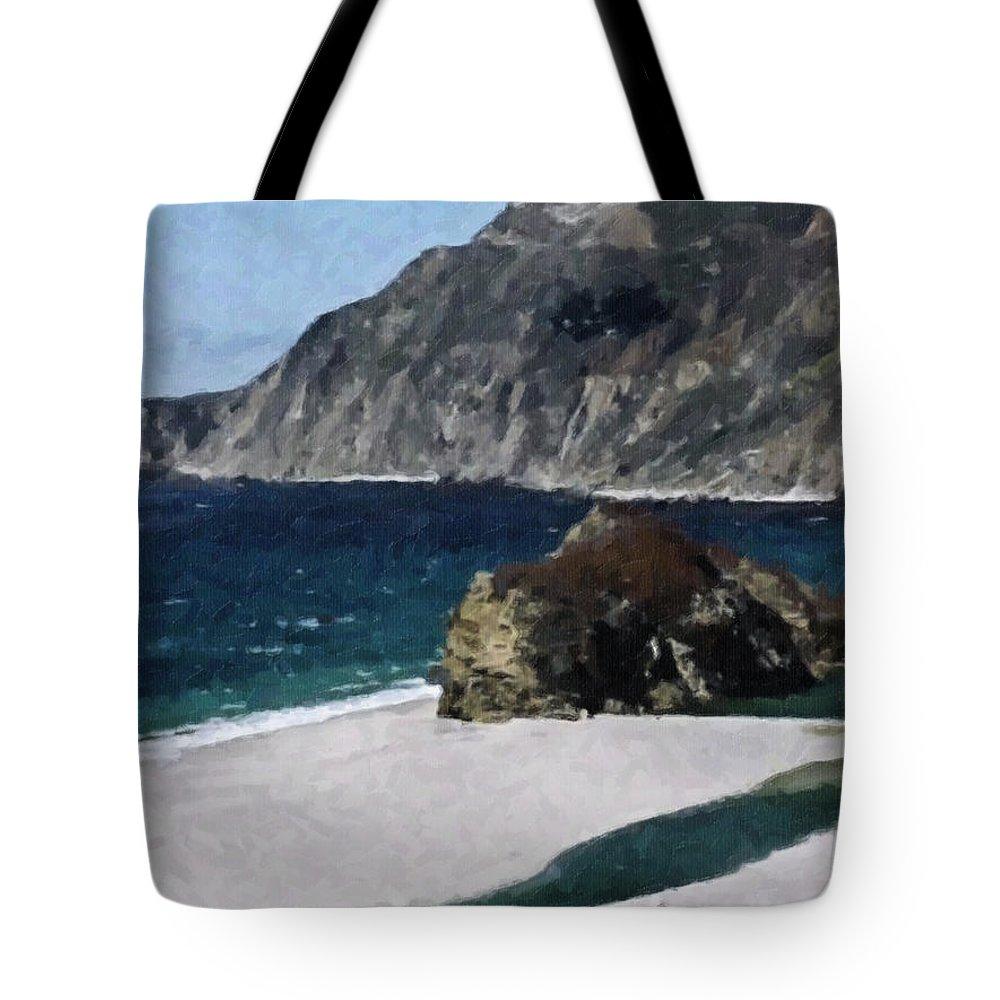 Big Tote Bag featuring the digital art Big Sur California by Teresa Mucha