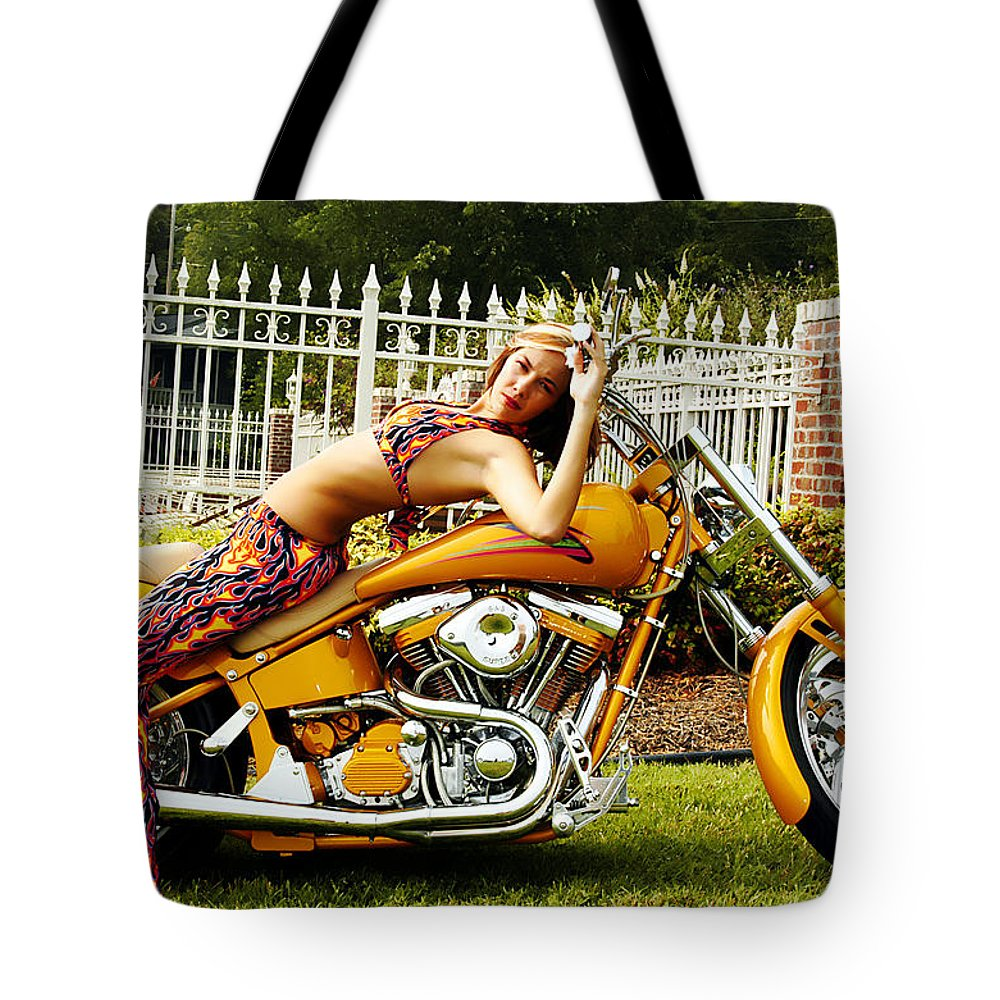 Clay Tote Bag featuring the photograph Bikes And Babes by Clayton Bruster